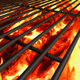 Barbecue grill background with fire. Charcoal fire grill, close up with  flames Royalty Free Stock Photos