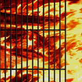 Barbecue grill background with fire Stock Photography