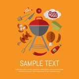Barbecue grill card, design template. Raster illustration barbecue grill card. Sausages, sauce, ketchup, pepper, mushrooms, steak and grill tools around stock illustration