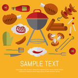 Barbecue grill card, design template. Vector illustration BBQ card. Barbecue grill, skewer of grilled sausages, ketchup, pepper, mushrooms, steak and grill stock illustration