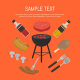 Barbecue grill card, design template. Vector illustration barbecue grill card. Hot dog, sausages, sauce and ketchup, mushrooms, steak and grill tools around Stock Photo
