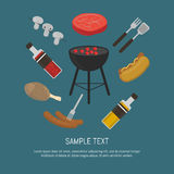 Barbecue grill card, design template. Vector illustration barbecue grill card. Hot dog, sausages, sauce and ketchup, mushrooms, steak and grill tools around stock illustration