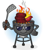 Barbecue Grill Cartoon Character with Attitude. A hot barbecue grill cartoon character with sunglasses and a spatula, grilling burgers and and hotdogs over an Royalty Free Stock Photography