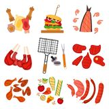 Barbecue grill cartoon elements set. On white background. Cookout BBQ party icons. Set of barbecue tools, street food for party invitation design. Barbecue vector illustration