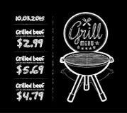 Barbecue grill. Chalkboard vector illustration on black background royalty free illustration