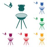 Barbecue grill with chicken icon. Vector illustration Royalty Free Stock Photo