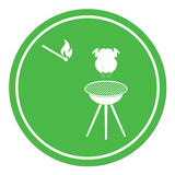 Barbecue grill with chicken icon Stock Images