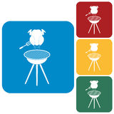 Barbecue grill with chicken icon Royalty Free Stock Photos