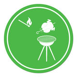 Barbecue grill with chicken icon Royalty Free Stock Photography