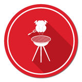 Barbecue grill with chicken icon. Vector illustration Stock Photo