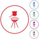 Barbecue grill with chicken icon. Vector illustration Stock Photography