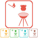Barbecue grill with chicken icon. Vector illustration Royalty Free Stock Images