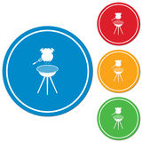 Barbecue grill with chicken icon. Vector illustration Royalty Free Stock Image