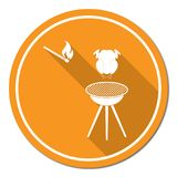 Barbecue grill with chicken icon Royalty Free Stock Image