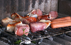 Barbecue grill with chicken and meat Stock Image