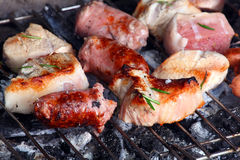 Barbecue grill with chicken and meat Royalty Free Stock Photo