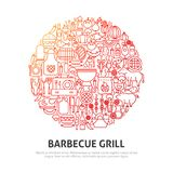 Barbecue Grill Circle Concept. Vector Illustration of Outline Design Royalty Free Stock Photo