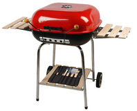 Barbecue grill. Clipping path. Barbecue grill equipment isolated over white Stock Image