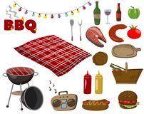 Barbecue and grill collection set, picnic food symbols, drinks, steaks from fish and meat, accessories for a bbq party. Cartoon vector Illustrations on a white Royalty Free Stock Photos