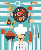 Barbecue and Grill cook concept design flat set Stock Image