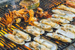 Barbecue Grill cooking seafood. Stock Photography