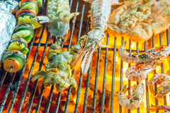 Barbecue Grill cooking seafood. Royalty Free Stock Photo