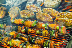 Barbecue Grill cooking seafood. Stock Photos