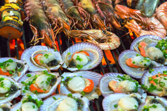 Barbecue Grill cooking seafood. Royalty Free Stock Images