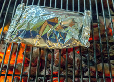 Barbecue Grill cooking seafood. Royalty Free Stock Photography