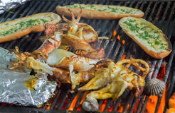 Barbecue Grill cooking seafood. Stock Image