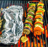 Barbecue Grill cooking vegetable. Royalty Free Stock Photos