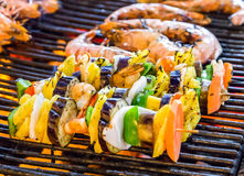 Barbecue Grill cooking vegetable. Stock Photos