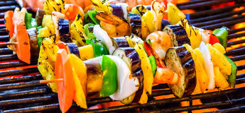 Barbecue Grill cooking vegetable. Stock Image