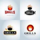 Barbecue Grill Design emblems set. Design Element for emblem, Label, Badge and other design. Fire flame vector illustration set Stock Image