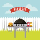 Barbecue grill design. Barbecue grill with hamburger and sauces bottles over landscape background. colorful design.  illustration Royalty Free Stock Images