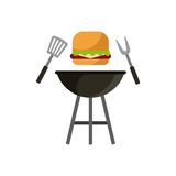 Barbecue grill design. Barbecue grill with hamburger and utensils icon over white background. colorful design.  illustration Royalty Free Stock Photos