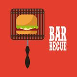 Barbecue grill design. Hand grill with hamburger icon over red background. barbecue grill concept. colorful design.  illustration Royalty Free Stock Photos