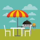 Barbecue grill design. Table, chairs and parasol and barbecue grill with hamburger icon over landscape background. colorful design.  illustration Stock Images
