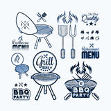 Barbecue grill drawn Royalty Free Stock Photos