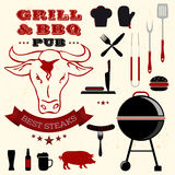 Barbecue grill elements collection Stock Images