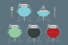 Barbecue / grill elements  for restaurant menu or weekend outdoor lunch or picnic. Retro color flat design vector illustration. Stock Image