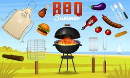 Barbecue grill elements set isolated on red background. BBQ party poster. Summer time. Meat restaurant at home. Charcoal. Kettle with tools, sauce and foods Royalty Free Stock Photos