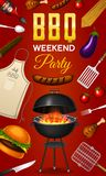 Barbecue grill elements set isolated on red background. BBQ party poster. Summer time. Meat restaurant at home. Charcoal. Kettle with tools, sauce and foods Stock Images