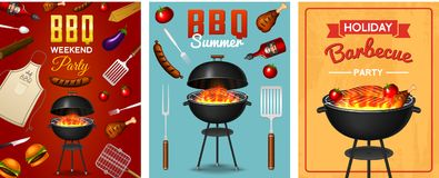 Barbecue grill elements set isolated on red background. BBQ party poster. Summer time. Meat restaurant at home. Charcoal. Kettle with tools, sauce and foods stock illustration