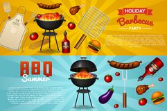 Barbecue grill elements set isolated on red background. BBQ party poster. Summer time. Meat restaurant at home. Charcoal Stock Image