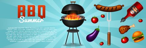 Barbecue grill elements set isolated on red background. BBQ party poster. Summer time. Meat restaurant at home. Charcoal. Kettle with tools, sauce and foods royalty free illustration