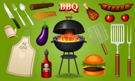 Barbecue grill elements set isolated on red background. BBQ party. Summer time. Meat restaurant at home. Charcoal kettle. With tools, sauce and foods. Kitchen royalty free illustration