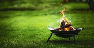 Barbecue Grill with Fire Stock Photos