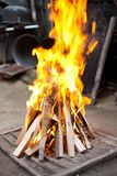 Barbecue grill fire Royalty Free Stock Image