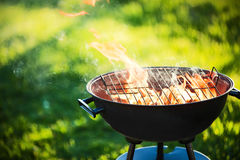 Barbecue grill with fire. On nature, outdoor, close up Royalty Free Stock Photos
